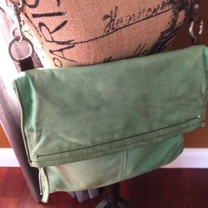 Hobo crossbody green leather purse